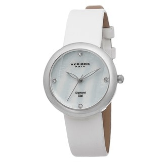 Akribos XXIV Women's Swiss Quartz Mother of Pearl Diamond Silver-Tone Strap Watch