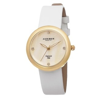 Akribos XXIV Women's Swiss Quartz Mother of Pearl Diamond Gold-Tone Strap Watch