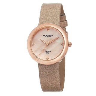 Akribos XXIV Women's Swiss Quartz Mother of Pearl Diamond Pink Strap Watch