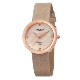 Akribos XXIV Women's Swiss Quartz Mother of Pearl Diamond Pink Strap Watch with FREE Bangle