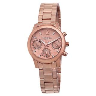 Akribos XXIV Women's Swiss Quartz Multifunction Rose-Tone Bracelet Watch