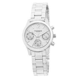 Akribos XXIV Women's Swiss Quartz Multifunction Silver-Tone Bracelet Watch