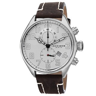 Akribos XXIV Men's Quartz Chronograph Leather Brown Strap Watch
