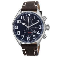 Akribos XXIV Men's Quartz Chronograph Leather Blue Strap Watch