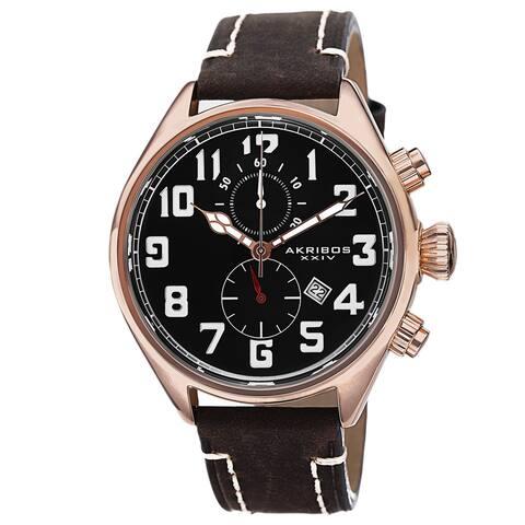 Akribos XXIV Men's Quartz Chronograph Leather Rose-Tone Strap Watch