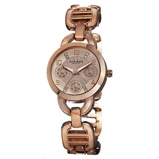 Akribos XXIV Women's Quartz Multifunction Link Rose-Tone Bracelet Watch