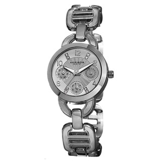 Akribos XXIV Women's Quartz Multifunction Link Silver-Tone Bracelet Watch