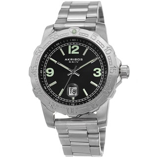 Akribos XXIV Men's Date Luminescent Stainless Steel Silver-Tone Bracelet Watch