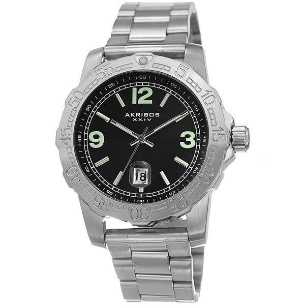 Shop akribos xxiv men 39 s date luminescent stainless steel silver tone bracelet watch free for Luminescence watches
