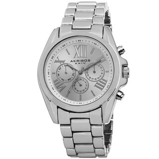 Akribos XXIV Women's Swiss Quartz Multifunction Silver-Tone Bracelet Watch