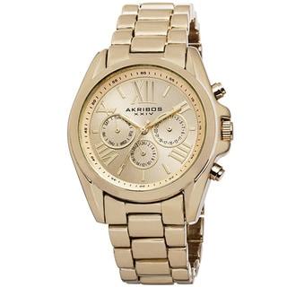 Akribos XXIV Women's Swiss Quartz Multifunction Gold-tone Bracelet Watch with FREE GIFT (Option: Gold)