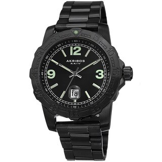 Akribos XXIV Men's Date Luminescent Stainless Steel Black Bracelet Watch