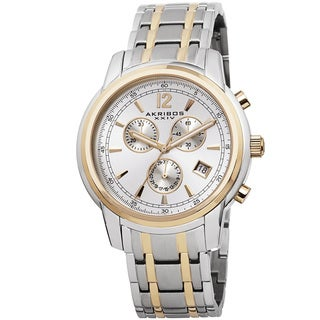 Akribos XXIV Men's Swiss Quartz Chronograph Stainless Steel Two-Tone Bracelet Watch