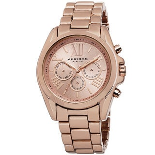 Akribos XXIV Women's Swiss Quartz Multifunction Rose-Tone Bracelet Watch