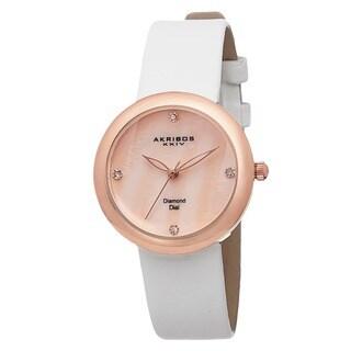 Akribos XXIV Women's Swiss Quartz Mother of Pearl Diamond Rose-Tone Strap Watch with FREE Bangle
