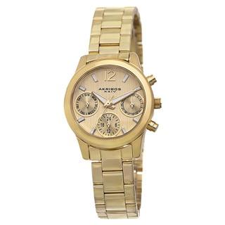 Akribos XXIV Women's Swiss Quartz Multifunction Gold-Tone Bracelet Watch with FREE GIFT