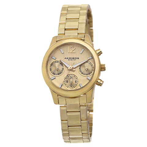 bf68244b1 Akribos XXIV Women's Swiss Quartz Multifunction Gold-Tone Bracelet Watch