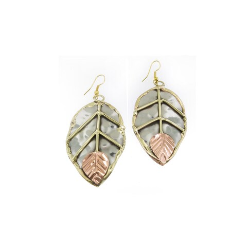 Handmade Mixed Metals Stainless Steel Copper Leaf Earrings (India)