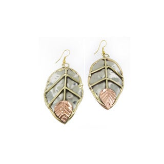 Handcrafted Mixed Metals Stainless Steel Copper Leaf Earrings (India)