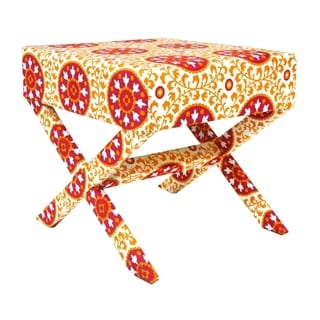 Handmade Suzani X-Style Stool (India)