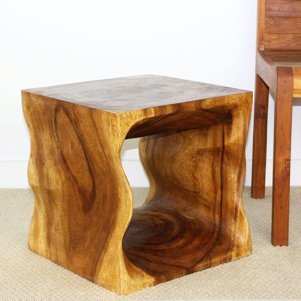 Handmade Hand Carved Oak Oil Acacia Wood Cube Accent
