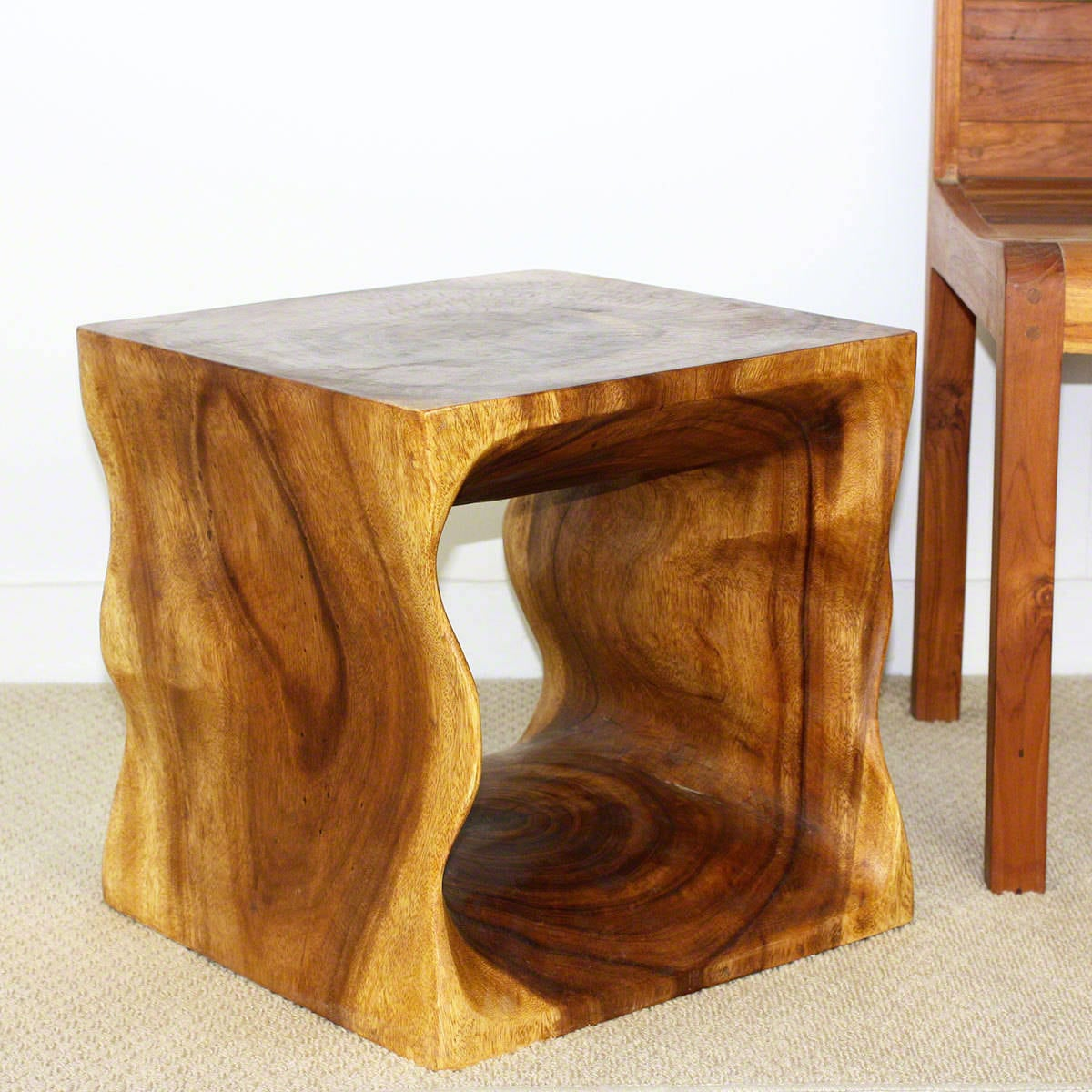 Handmade 16 Oak Oil Wood Cube Coffee Table Thailand