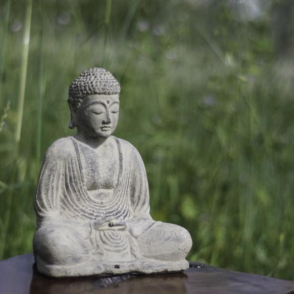 Handmade Volcanic Ash Peaceful Buddha Sculpture (Indonesia)