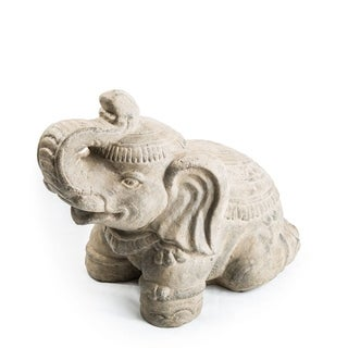 Volcanic Ash Royal Elephant Sculpture, Handmade in Indonesia - Grey