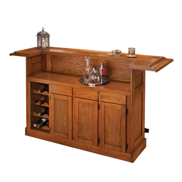 Shop Classic Large Oak Home Bar - Free Shipping Today - Overstock ...