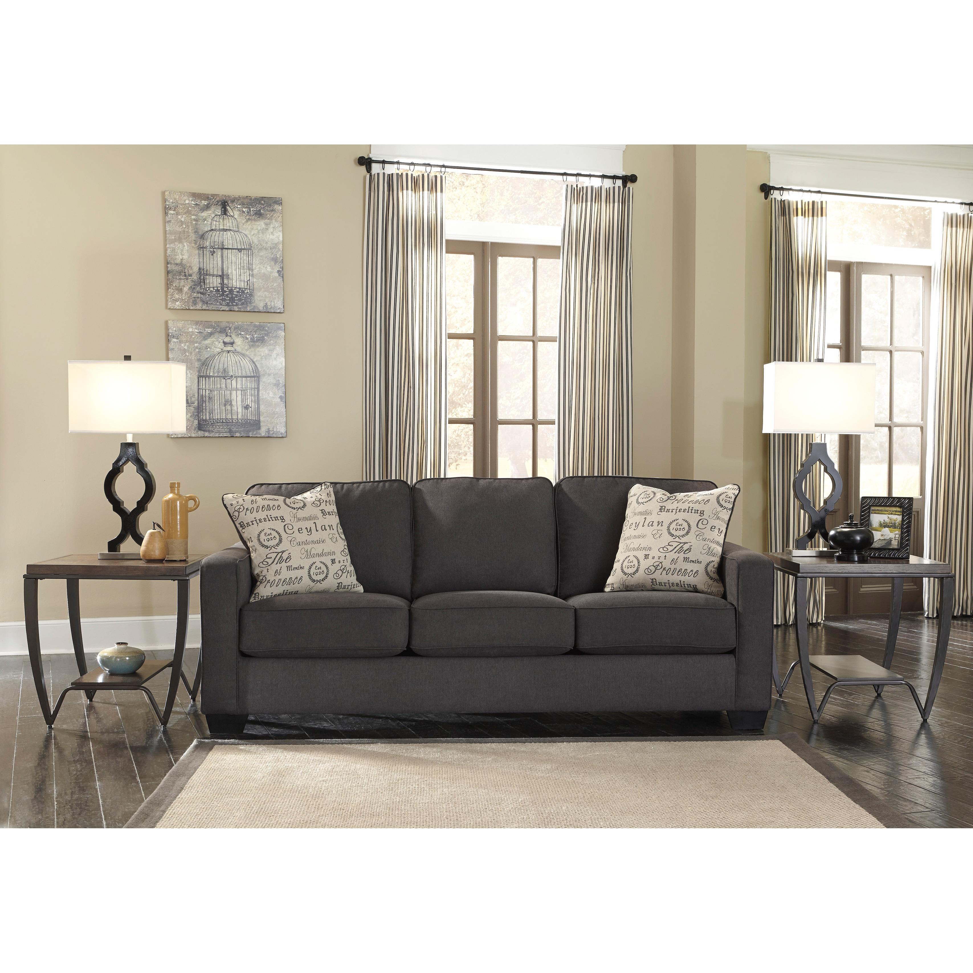 Alenya Charcoal Sofa And Accent Pillows