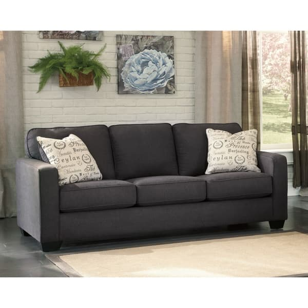 Shop Alenya Charcoal Sofa And Accent Pillows Free Shipping