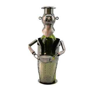 WineBodies Chef with Pot in Bronze Metal Wine Bottle Holder