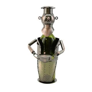 WineBodies Chef with Pot in Bronze Metal Wine Bottle Holder