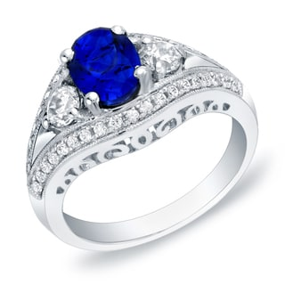 14k White Gold 3/4ct TDW Sapphire and Diamond Engagement Ring (H-I, SI1-SI2)