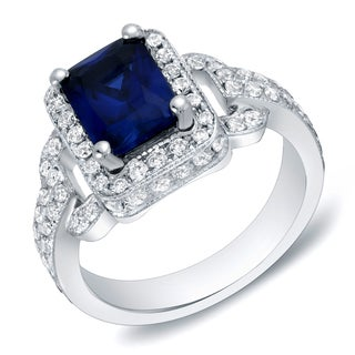 Auriya 14k Gold 1ct TDW Sapphire and Diamond Engagement Ring (H-I, SI1-SI2) (Option: 4)