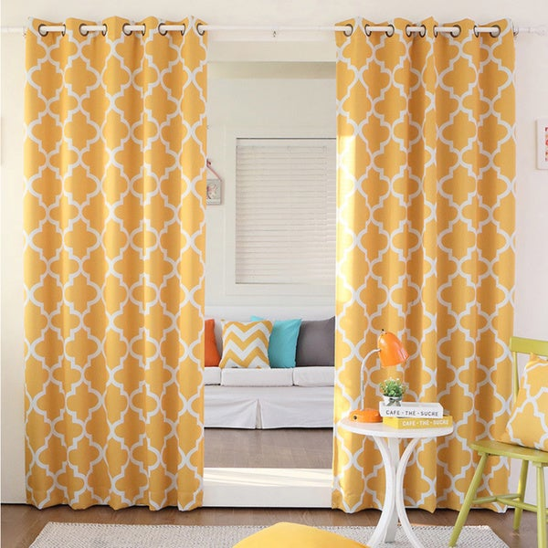 aurora home moroccan tile room darkening grommet top 84inch curtain panel pair - Room Darkening Curtains