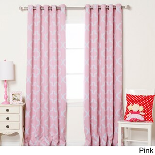 Aurora Home Moroccan Tile Room Darkening Grommet Top 84-inch Curtain Panel Pair (Option: Pink)
