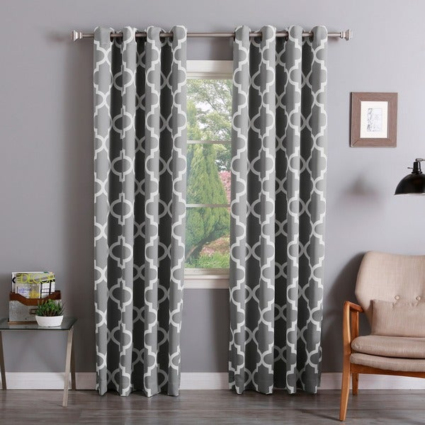 Aurora Home Moroccan Tile Room Darkening Grommet Top 84 Inch Curtain Panel  Pair   Free Shipping Today   Overstock.com   16117311