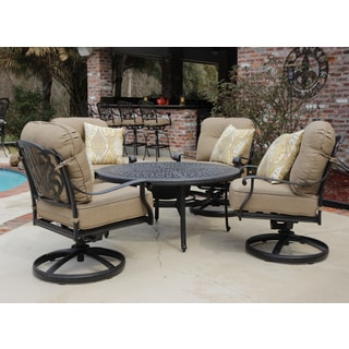 Rosedown 5-piece Swivel Club Chair with Fire Table Patio Set