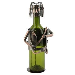 WineBodies Saxophone Player in Bronze Metal Wine Bottle Holder