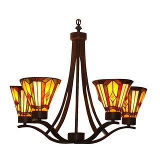 Tiffany-style 5-light Mission Bronze Chandelier