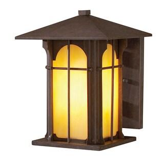 1-light 9-inch Olde Brick Honey Opal Glass Outdoor Wall Light