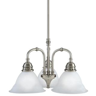 3-light Antique Pewter Transitional Mini Chandelier
