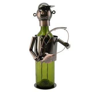 WineBodies Fisherman in Bronze Metal Wine Bottle Holder
