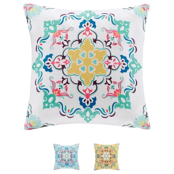 Intelligent Design Cotton Canvas Medallion Embroidered Decorative Pillow - Multiple Options