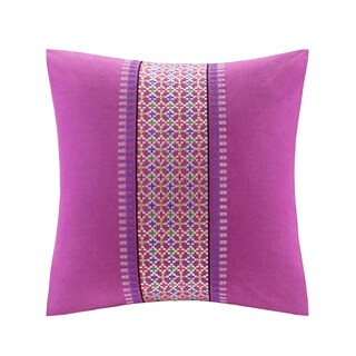 Echo Design Vineyard Paisley Square Fuchsia Embroidered Pillow