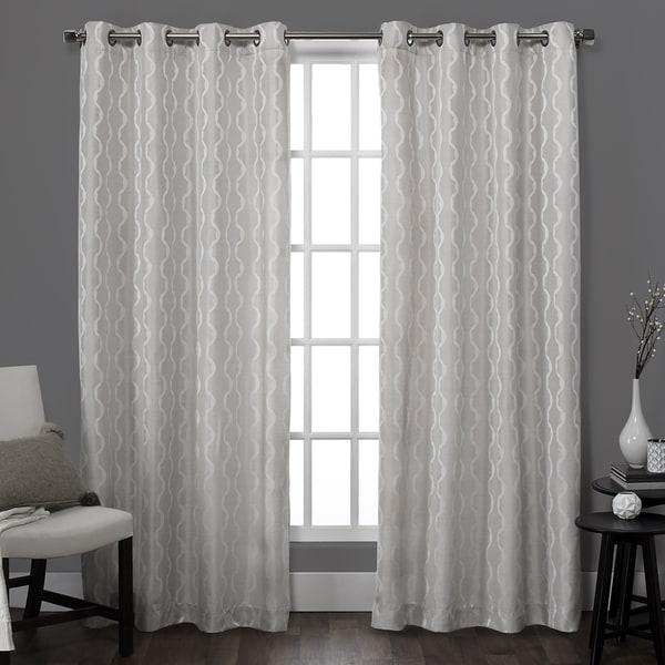 ATI Home Baroque Jacquard Grommet Top Curtain Panel Pair