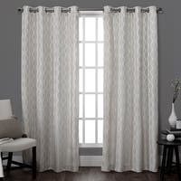 ATI Home Baroque Linen Look Window Curtain Panel Pair with Grommet Top