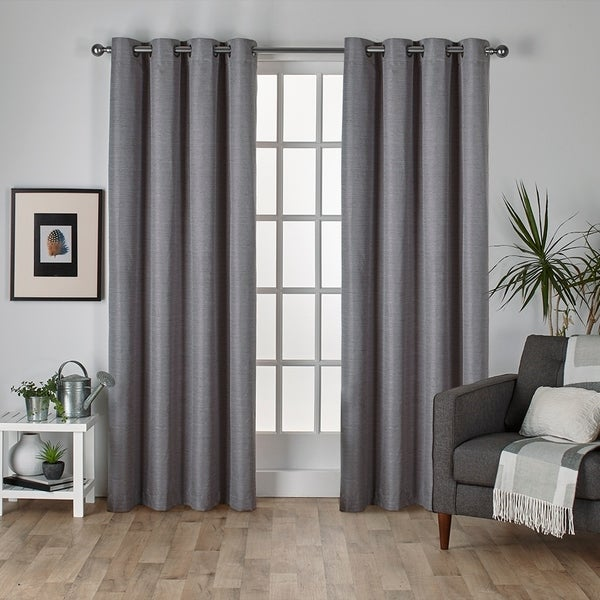 ATI Home Raw Silk Thermal Insulated Grommet Top Curtain Panel Pair