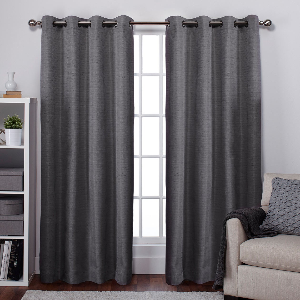 ATI Home Raw Silk Thermal Insulated Grommet Top Curtain P...
